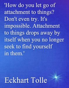 Eckhart Tolle ''How do you let go of attachment to things? Don't even try. It's impossible. Attachment drops away by itself when you no longer seek to find yourself in them.'' ^ February 18, 2015