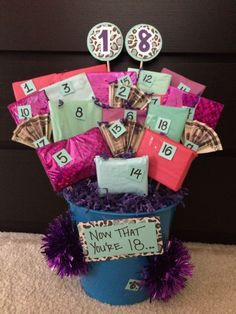 "18th Birthday gift basket. On the back of each numbered gift there is a connection to what she can do now that she is 18....i.e ""you can play the lottery!"" with scratch offs inside, and ""you can legally change your name (but I hope you keep this one)"" with a monogrammed gift inside (I gave her jewelry with her initials on it). She loved it!!!!"