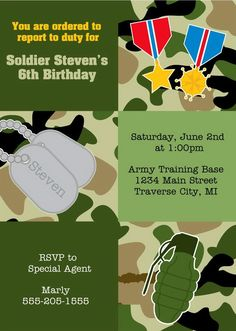 Army Birthday Party Invitations by Announce It! Shop kids birthday invitations with an army or military theme perfect for a celebration for a little boy. Army Birthday Parties, Army's Birthday, Kids Birthday Party Invitations, Army Party, Party Themes, Party Ideas, Party Planning, Dog Tags, Card Stock
