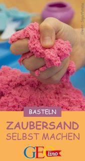 Make magic sand yourself: Here's how!- Zaubersand selber machen: So geht's! With magic sand you can play really great indoors! You can find the instructions for doing it yourself at GEOlino. Maila, Pin Collection, Diy For Kids, Diy And Crafts, Homemade, Canning, Crochet, How To Make, Design