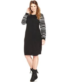 Love Squared Plus Size Printed-Sleeve Sweater Dress