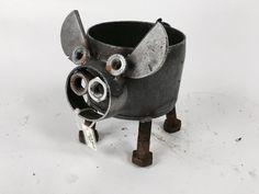 Scrap Metal Pig Metal Sculpture  Garden Flower Pot by IronMaidArt