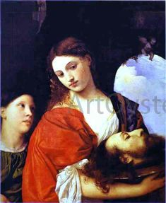 Salome is an oil painting by Italian late Renaissance painter Titian, dated to around 1515 and now held at the Doria Pamphilj Gallery in Rome. Italian Painters, Italian Artist, Italian Renaissance, Renaissance Art, L'art Adolescent, Judith And Holofernes, Red Books, John The Baptist, Caravaggio
