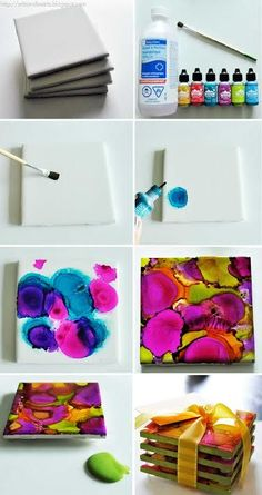 "Man braucht ""nur"" die normalen Untersetzer. Vielleicht gehen auch alte Fliesen.  - Make bright and beautiful Alcohol Ink Dyed Coasters in 2 hours. Great DIY project for the whole family!"