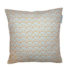 A bespoke contemporary cushion, with 'Geometric Triangle' print design is inspired by iconic British architecture. By Annabel Perrin.