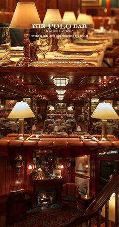 The Polo Bar, NYC. 1 E 55 St. The restaurant and bar are inspired by classic New York establishments and Ralph Lauren's love of gathering around the table with family and friends. See more on http://rlauren.co/ThePoloBar