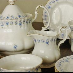 "Royal Albert - ""Memory Lane""  Looks awfully familiar.  Hey! That's my set.  Chose my pattern and started my collection when I was 13 and to this day, I still love it!    Thank you Auntie Joyce for making me feel like one of the big girls. <3"