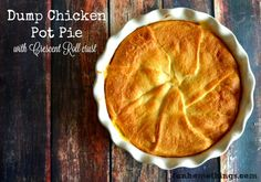 Dump Chicken Pot Pie from FunHomeThings.com Dump Chicken, Best Chicken Pot Pie, Chicken Recipes, Chicken Carbonara Recipe, Spinach Stuffed Chicken, Country Cooking, Chicken And Dumplings, Crescent Rolls, I Love Food