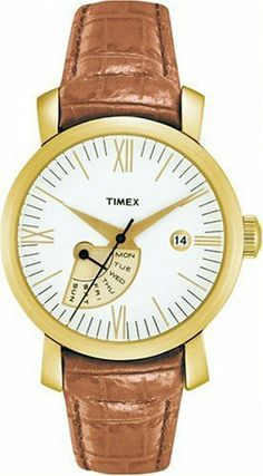 Timex 2M425 Womens Round Analog Gold-Tone Dress Watch with Brown Leather Strap Timex. $59.99. Round White Dial with Gold Tone Hour Markers --- Gold-Tone Hour, Minute and Second Hands. Sub-Dial Displays Day of Week. Timex 2M425 Womens Round Gold-Tone Dress Watch --- Brown Leather Strap with Gold-Tone Buckle. Water Resistant to 30 Meters. Date Display at 3 O'Clock with Easy to Set Feature
