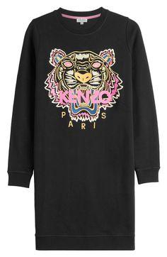 665348420581 KENZO Embroidered Cotton Sweatshirt Dress.  kenzo  cloth  sweater dresses