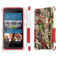 HTC Desire [626] Tough Case [SlickCandy] [White/Red] Hybrid Combat [Kick Stand] [Shock Proof] Phone Case - [Hunter Tree Camouflage] for HTC Desire [626 / 626S]. Fits HTC Desire [626 / 626S] [Make Sure your phone is the exact model]. Combat Tough Shock Absorbent Silicone Rubber reinforced with Shatter Proof Polymer Shell with Build in KickStand. Easy Access to TouchScreen and Ports with Convenient KickStand. Converts into a Stand Case with different viewing angles for Hands-Free viewing…