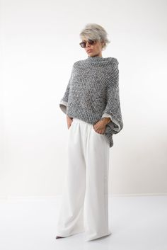 60 Fashion, Over 50 Womens Fashion, Fall Fashion Outfits, Knit Fashion, Fashion Over 50, Mode Outfits, Autumn Fashion, Fashion Looks, Men's Outerwear