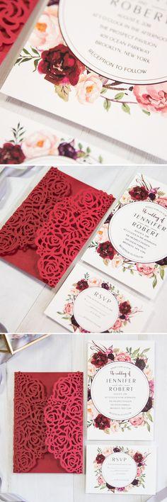 hot red laser cut wedding invitation with burgundy flower
