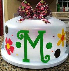 Personalized Cake Carrier Brown Pink Green by CCsCustomCreations, $24.00