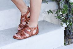 Perfect for a day out with friends! BEDSTU tan woven hand made sandal, will be your best friend for summer.