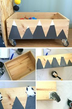 DIY caisse à jouets en bois Montagnes enneigées JoliTipi Wooden Toy Crates, Wood Toys, Wooden Diy, Boy Room, Kids Room, Diy Headboards, Baby Room Decor, Kids Furniture, Cheap Furniture