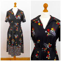 1970s Black Floral Day Dress with Matching by SkinnedKneesVintage