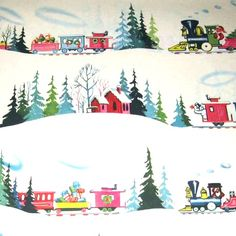vintage wrapping paper Christmas Train, Old Christmas, Old Fashioned Christmas, Christmas Paper, Retro Christmas, Vintage Holiday, Christmas Design, Christmas Greetings, Christmas Patterns