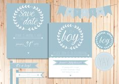 Perfect printables for a shower for a boy! From the save-the-date to the invite, bunting, straw flags and cupcake toppers! Email kerryn@theartyparty.co.za for enquiries on your customisable printables.