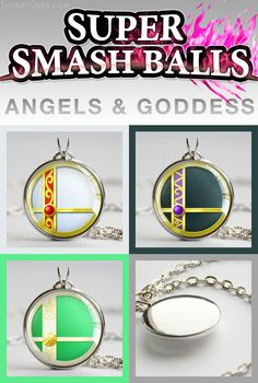 Super Smash Ball pendants of the Kid Icarus fighters Pit, Dark Pit and Goddess Palutena! #SmashBalls #SSB #TrinketGeek