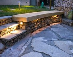 gabion seating with night lit steps http:www.gabion1.com