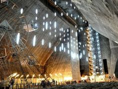 Old Salt Mine in Romania - Salina Turda is now a beautiful gallery, amusement park and museum of the salt mining days Salt Mining, History Museum, Location, Interior Architecture, Landscape Architecture, Interior Design, Abandoned, Places To Go, Around The Worlds
