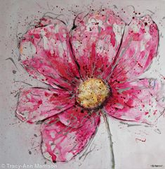 Pink Cosmos - Acrylic and Mixed Media on Canvas (Deep Edge)