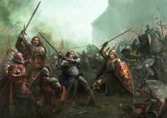 A Song of Ice & Fire (Game box art) by Stefan Kopinski Fantasy Battle, High Fantasy, Fantasy Rpg, Medieval Fantasy, Game Of Thrones Art, Jaime Lannister, Fire Art, Tumblr, Fantasy Kunst