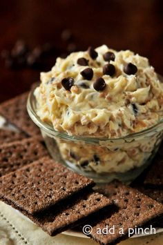 Cookie Dough Dip Recipe - Amazing dip with fruit slices, grahams...or a spoon! So good you'll get requests for this all the time! Showers and parties are perfect places to take this dip!   from addapinch.com