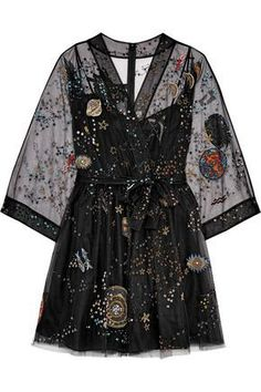 Shop on-sale Metallic embellished silk-blend tulle mini wrap dress. Browse other discount designer Mini Dress & more luxury fashion pieces at THE OUTNET Pretty Outfits, Pretty Dresses, Beautiful Dresses, Cool Outfits, Fashion Outfits, Heels Outfits, Fashion Clothes, Looks Style, My Style