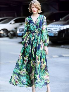 6771fcd19c3 Buy Fashion V-Neck Long Sleeve Floral Print Maxi Dress with High Quality  and Lovely