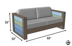 DIY Planked Wood Loveseat Plans - Dimensions