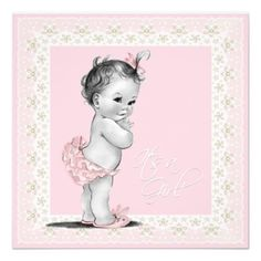 Ivory and Pink Vintage Baby Girl Shower Personalized Invites