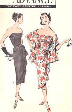 $125. !!! 1950s SIZZLINGS Strapless SARONG Sheath Cocktail Evening Party Dress Pattern ADVANCE 8647 Eye Catching Side Cascade Drape and Stole Bust 32 Vintage Sewing Pattern FACTORY FOLDED. jwt