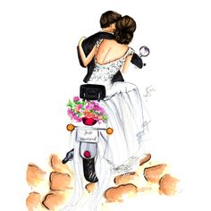 Just Married 💍👰🏻, tag a bride/groom! Perfect for a unique wedding gift. Illustration Paris, Wedding Illustration, Couple Illustration, Illustrations, Wedding Images, Wedding Cards, Wedding Day, Unique Wedding Gifts, Unique Weddings