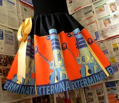 DALEK Skirt, Dr Who Clothes, Dr Who Skirt, Geekery, EXTeRMiNatE Skirt, ROOBYS,. £40.00, via Etsy.
