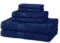 Fade Resistant Cotton Towel Set 6 Piece Navy Blue Bathroom Set New Best Bath Towels, Turkish Bath Towels, Bath Towel Sets, Bathroom Towels, Hand Towels, Bathroom Stuff, Basement Bathroom, Navy Blue Bathrooms, Microfiber Bath Towels