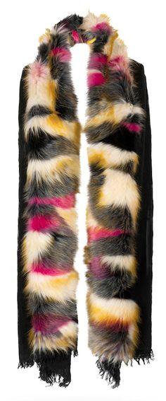 echarpe en laine noir et fourrure noir, jaune, rose, gris, rinascimento  cadeaux de noel b4266a0a1d6