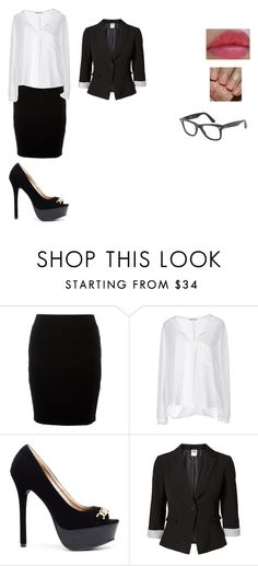 """""""first day in office"""" by anaarita ❤ liked on Polyvore featuring Angela Mele Milano, 2b bebe, Vero Moda, Revlon, Ray-Ban and office"""