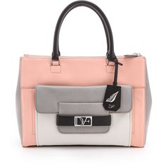 Diane von Furstenberg Eva Colorblock Bag (7637640 BYR) ❤ liked on Polyvore featuring bags, handbags, purses, leather tote purse, man bag, handbags purses, handbag tote and tote handbags