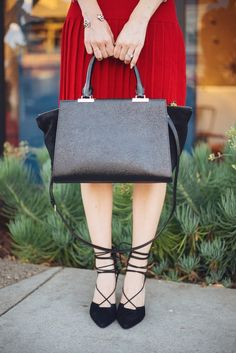 black suede and leather bag with black lace up heels M Loves M @marmar