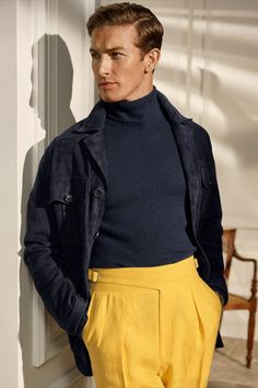 Fall Blazer, Linen Suit, Looks Style, Men's Style, Yellow Fashion, Striped Linen, Fall Wardrobe, Minimal Fashion, Jacket Style