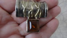 STERLING SILVER AMBER PIN 925 #Unbranded