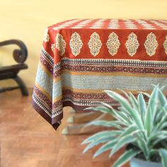 Spice Route ~ Red decorative Indian print tablecloth $59.99