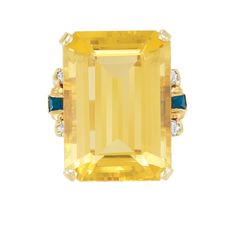 Gold, Citrine, Sapphire and Diamond Ring   14 kt., one emerald-cut citrine ap. 31.00 cts., ap. 11.7 dwt