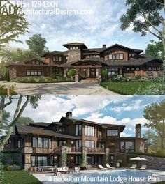 Architectural Designs 4 Bed Mountain Lodge House Plan 12943KN. Ready when you are. Where do YOU want to build?