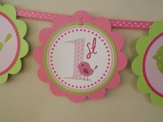 Sweet Tweet Collection in Pinks and Green: Happy Birthday Word Banner. .
