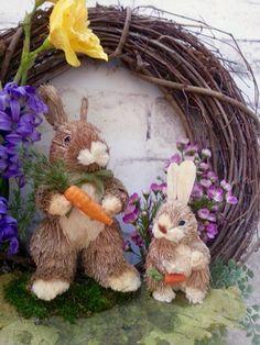 Spring Bunny Wreath Spring Wreath Easter by AdorabellaWreaths