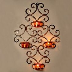 ExclusiveLane Wall Scone With 4 Tea Lights Holders with Metal Finish - For Gift / Home Décor