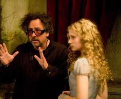 Tim Burton And Mia Wasikowska On-set Of Alice In Wonderland...